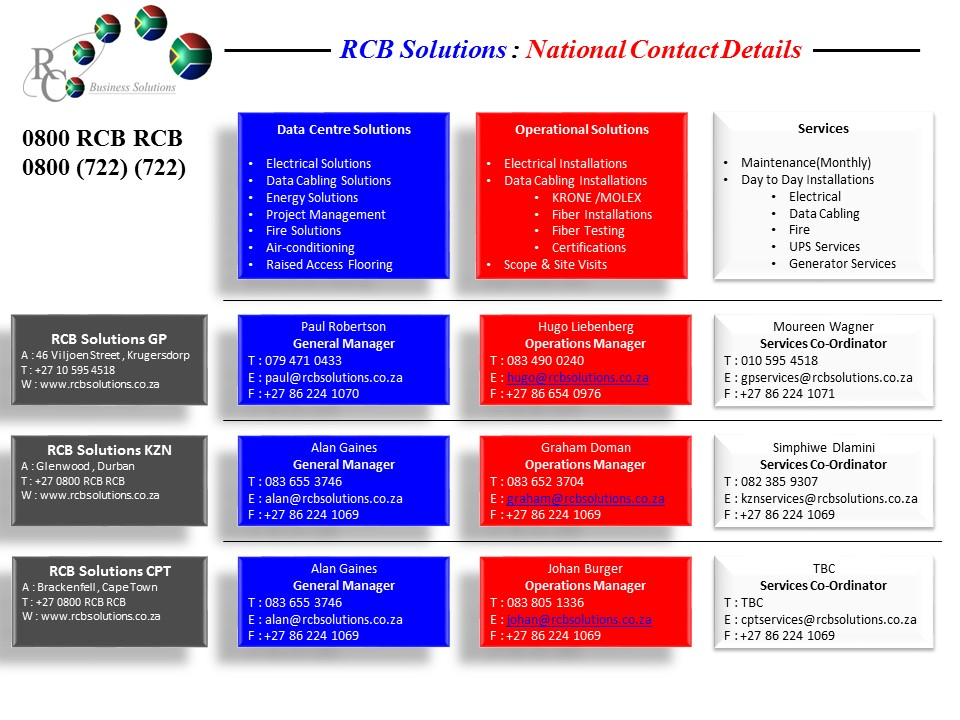 RCB Solutions National Contact Details